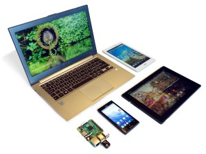 Laptop, Raspberry Pi, Android tablet and phones